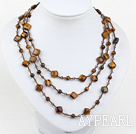 fashion long style jewelry  crystal and tiger eye stone necklace