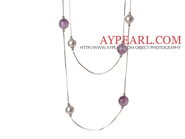 Elegant Long Style Round Grey Seashell and Faceted Amethyst Beads Necklace