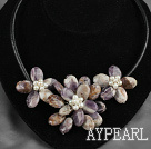 White Freshwater Pearl and Amethyst Flower Necklace with Leather Cord