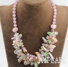 Wholesale gorgeous Biwa pearl crystal and rose quartze necklace