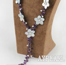 Y Shape Amethyst and White Pearl Shell Flower Necklace