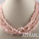 Wholesale multi strand rose quartze necklace with gem clasp