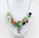 Wholesale multi color crystal necklace with metal chain