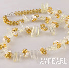 Wholesale white pearl and lemon crystal necklace with lobster clasp