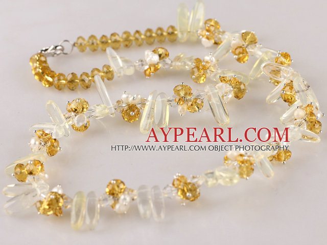 white pearl and lemon crystal necklace with lobster clasp