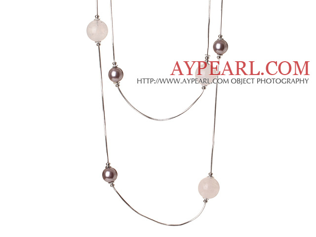 Elegant Long Style Round Purple Seashell and Rose Quartz Beads Necklace