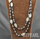 Wholesale fashion long style pearl and shell necklace