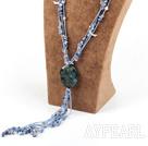 Wholesale blue gem stone chip agate flower pendant necklace