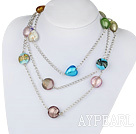 Wholesale fashion jewelry colorful colored glaze heart necklace with metal chain