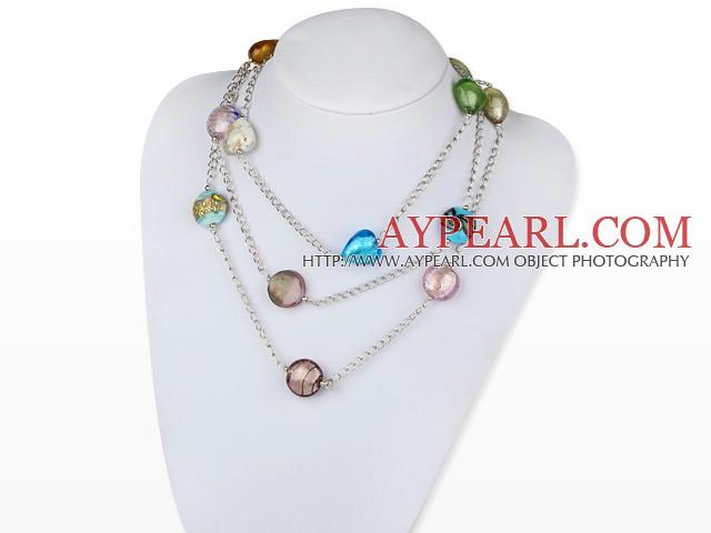 Modeschmuck kette bunt  bunt gefärbte Glasur Herz Halskette mit Metall-Kette