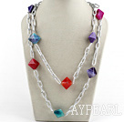 Wholesale colorful Brazil agate necklace with bold chain