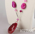 Fashion Loop Style Multi Rose Color Agate Necklace With Crystallize Agate Pendant