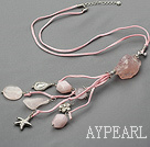 Wholesale rose quartze and crystal necklace with extendable chain