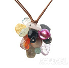 Wholesale multi color gemstone necklace with extendable chain