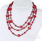 Wholesale fashion costume jewelry red crystal bloodstone red coral necklace