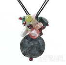 multi color gemstone necklace with extendable chain