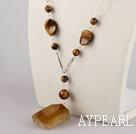 Wholesale tiger eye and faceted agate necklace