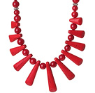Lovely Design Red Coral Beaded Necklace with Fun Shape Red Coral Accessory