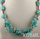 Wholesale turquoise and bloodstone necklace with moonlight clasp