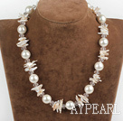 Wholesale 17.7 inches lovely biwa pearl and white sea shell beads necklace