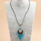 Simple Retro Style Chandelier Shape Sky Blue Crystal Tassel Pendant Necklace With Black Leather