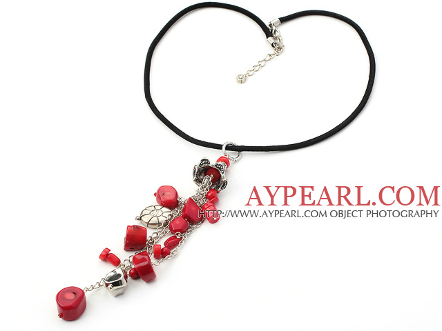 17.7 inches red coral and tibet silver charm necklace with extendable chain