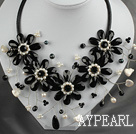 Wholesale White Freshwater Pearl and Black Crystal Flower Necklace with Leather Cord