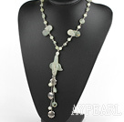 17.7 inches Y shape green jade and grape stone necklace
