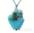 Pretty Cluster Style Multi Blue Turquoise Pendant Necklace With Extendable Chain