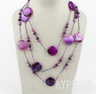 fashion costume jewelry purple pearl and agate crystal necklace
