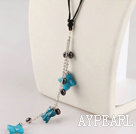 Wholesale pearl and blue jasper necklace with extendable chain