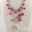 Wholesale fashion new style pink agate beaded necklace