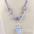 fancy lavender pearl crystal and colored glaze necklace
