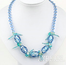 Wholesale blue crystal and colored glaze neckace with extendable chain