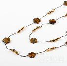Wholesale fashion long style jewelry  crystal and tiger eye stone necklace