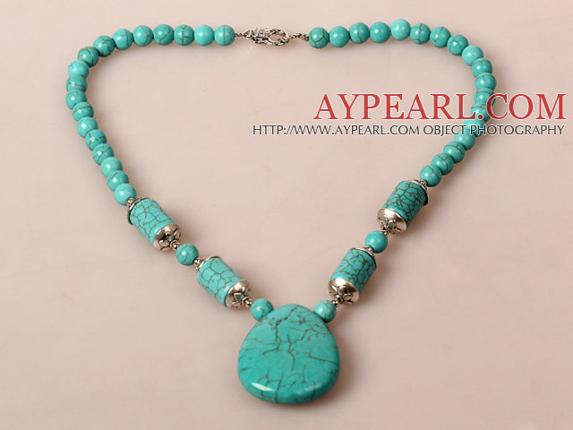 Turquoise Necklace with Teardrop Turuoise Pendant