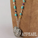 Wholesale multi color pearl and turquoise beaded necklace with heart pendant