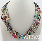 Wholesale multi strand colorful gem stone necklace with moonlight clasp