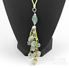 Wholesale green grape stone necklace with extendable chain