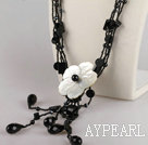 Wholesale black agate and crystal shell flower necklace
