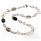 long style cross pearl and line agate necklace