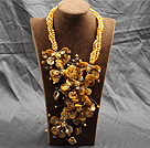 Aamzing driver Gul Sötvatten Pearl och Shell Flower Oversized Statement Necklace