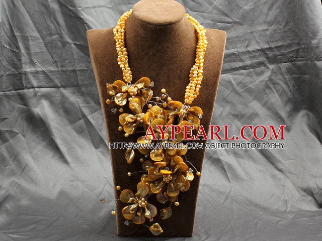 Aamzing Exaggerate Yellow Freshwater Pearl and Shell Flower Oversized Statement Necklace