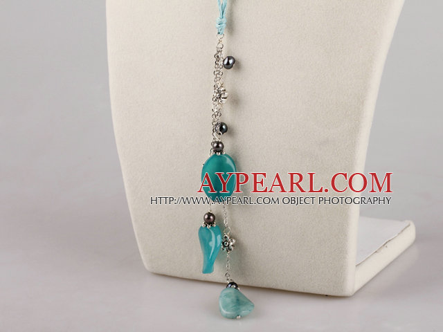 black pearl and blue jasper necklace with extendable chain