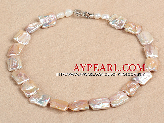 Elegant A Grade Natural Pink Oblong Shape Rebirth Pearl Chunky Party Necklace