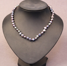 Multi Strand Purple Pearl Crystal and Amethyst Necklace with Moonlight Clasp
