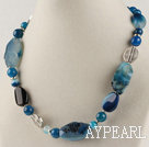 17.7 inches blue agate neckace with toggle clasp