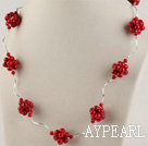 17.7 inches fashion style bloodstone necklace with lobster clasp