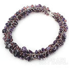 Purple Series Amethyst and Purple Crystal Necklace with Metal Chain