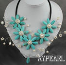 Wholesale White Freshwater Pearl and Turquoise Flower Necklace with Leather Cord